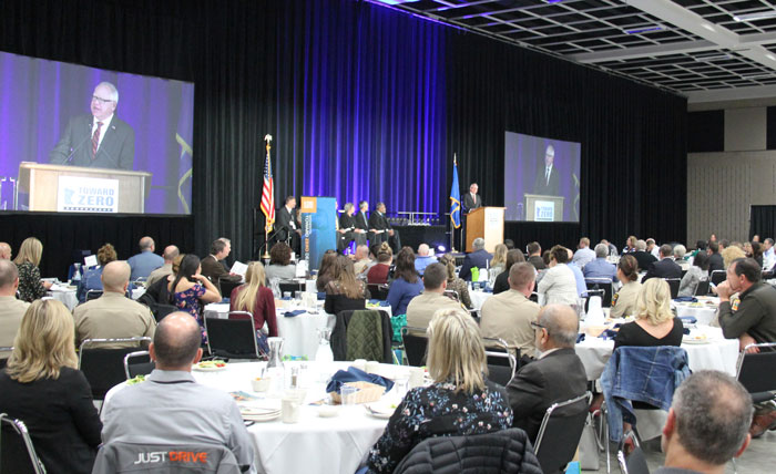 Governor Tim Walz addresses attendees at the 2019 conference