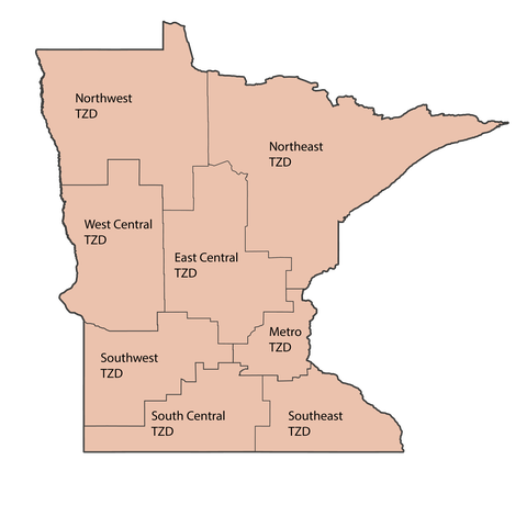 MN state map showing 8 geographic TZD regions